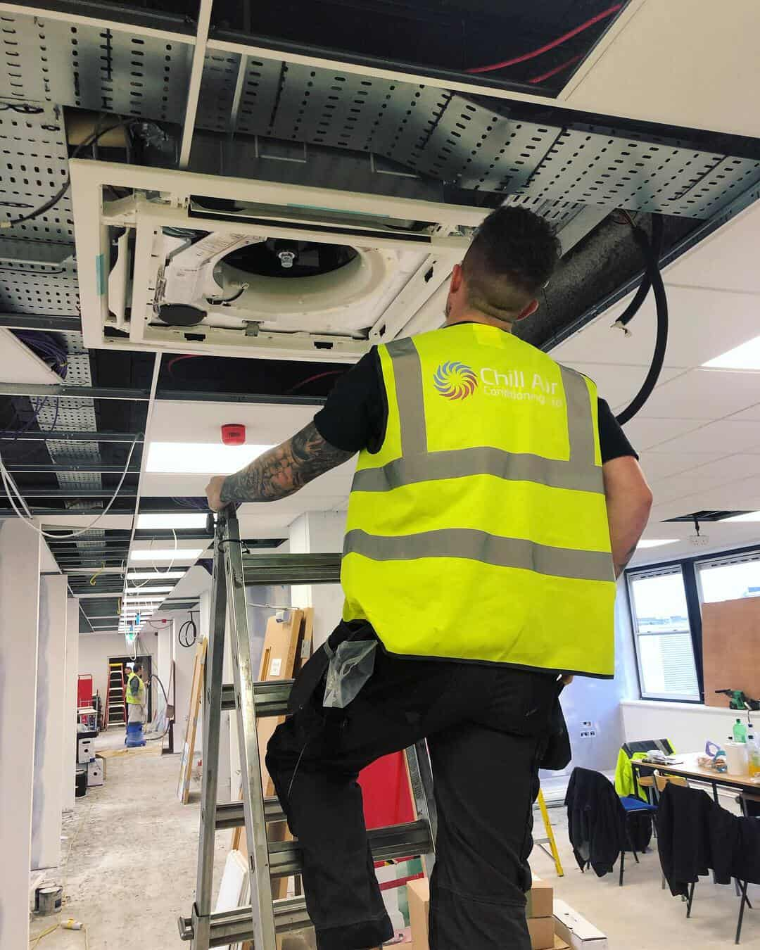 Chill Air Engineer onsite for Office Air Conditioning Installation
